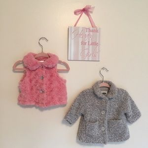 Baby girl knitted Cardigan and Fur vest  |  0-3mo